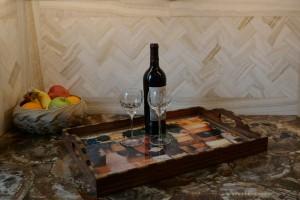 Granite - Petrified Woods / Onxy Herringbone Backsplash